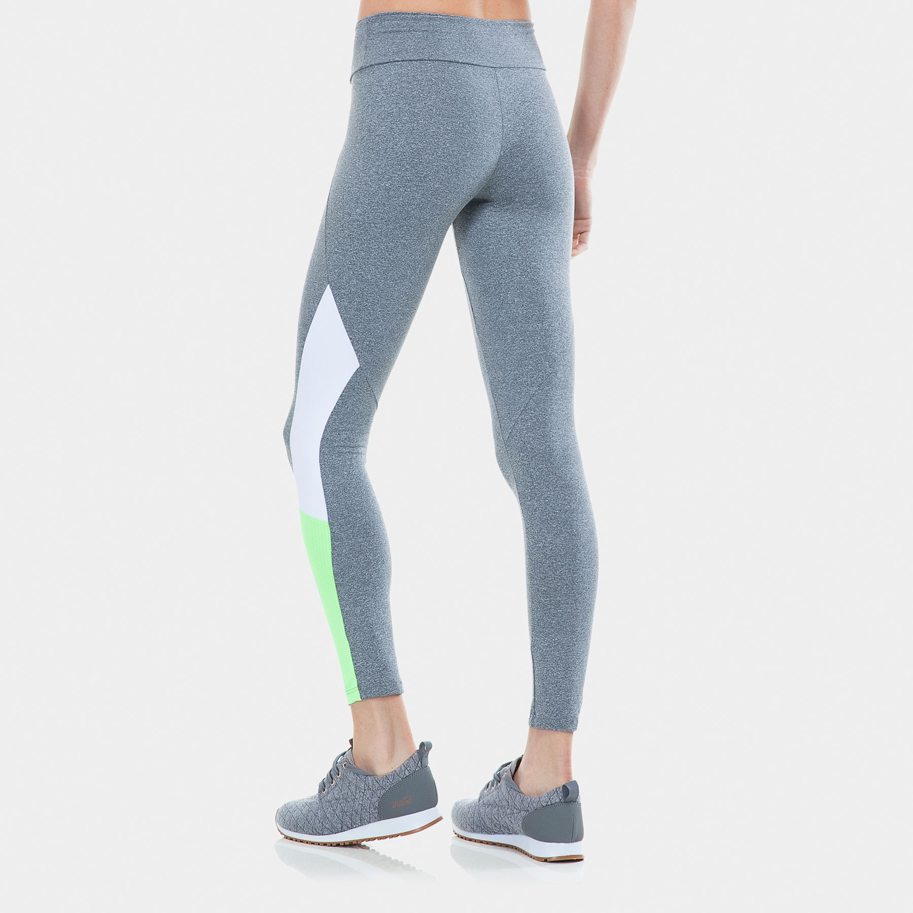 34cff3c8d Calça Legging Fitness Recortes Mescla branco verde - Graphene